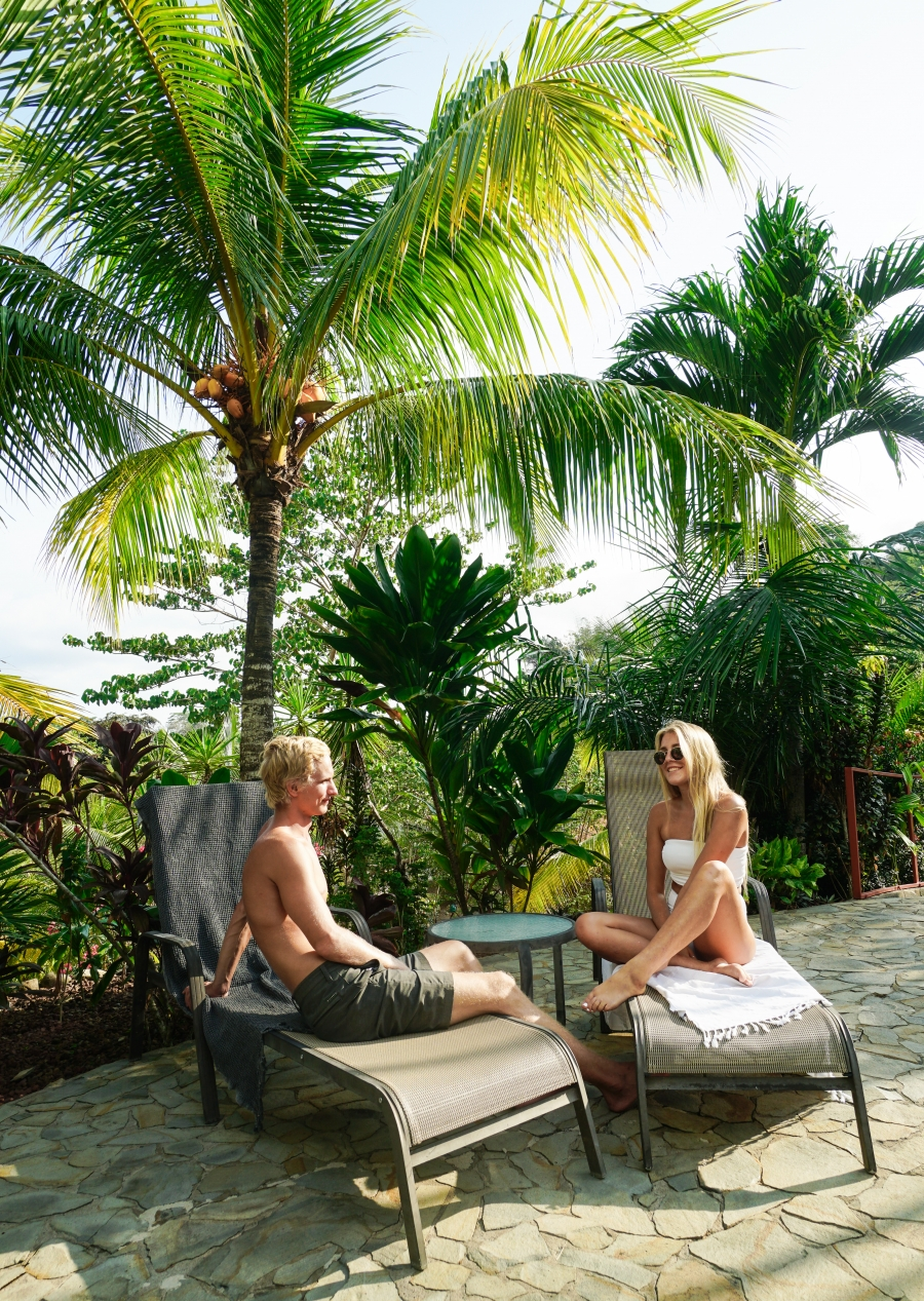 Our guests Nicky and Josh enjoying all the amenities at Pura Vida Surf Yoga